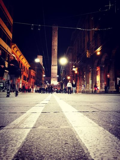 Bologna Italy Outdoors Night Holydays Holiday Torre Tower Due Two Asinelli