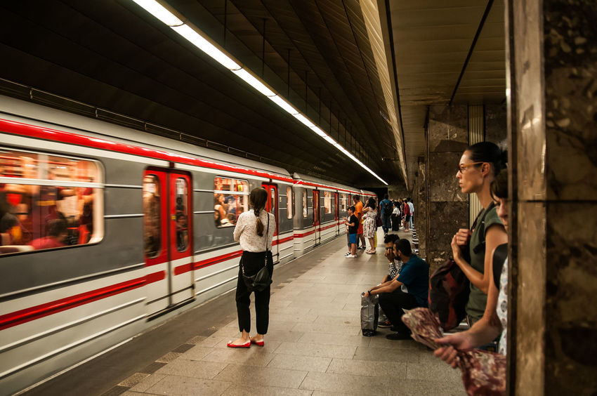 Adult Architecture Full Length Group Of People Indoors  Men Mode Of Transportation People Prague Subway Station Public Transportation Rail Transportation Real People Subway Station Subway Train Train Train - Vehicle Transportation Travel Waiting Women Young Adult