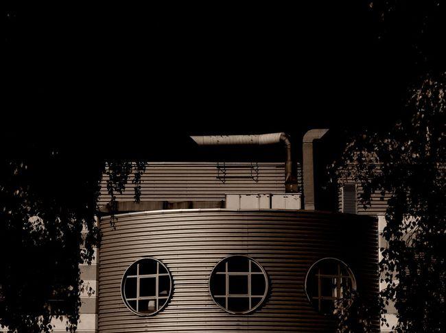 Architectural Detail Architecture Architecture_collection Brown Building Exterior Built Structure Dark Darkness Darkness And Light Eye4photography  EyeEm Best Shots EyeEm Gallery EyeEm Masterclass Geometric Shape Industrial Industrial Architecture Industry Modern Monochrome Monochrome Photography No People Outdoors Sepia Tree