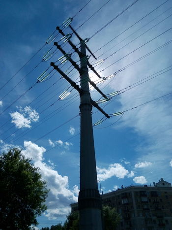 Transmission Line Tower 2 Circuit Power Lines 220 kV Sun ☀ Sky And Clouds Great View