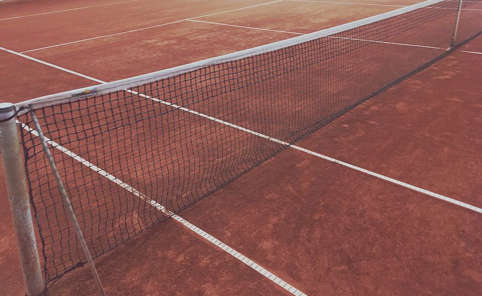 Sport Court Brown High Angle View Tennis Tennis Net Playing Field