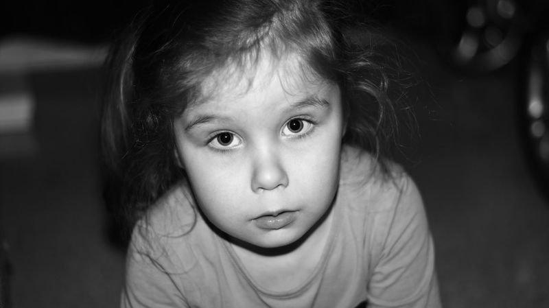 B&W Ninni ❤️ ©️JaniVauhkonen Child Children Only Girls One Girl Only Childhood Portrait Looking At Camera One Person Front View People Human Body Part Headshot Cute Indoors  Real People Close-up Protruding Day Canon EOS 600D JaniVauhkonen Rebelt3i