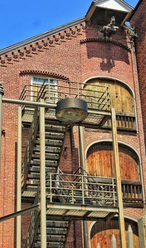 Architecture Building Exterior Low Angle View Escape Route Stairs Wood Brick Metal