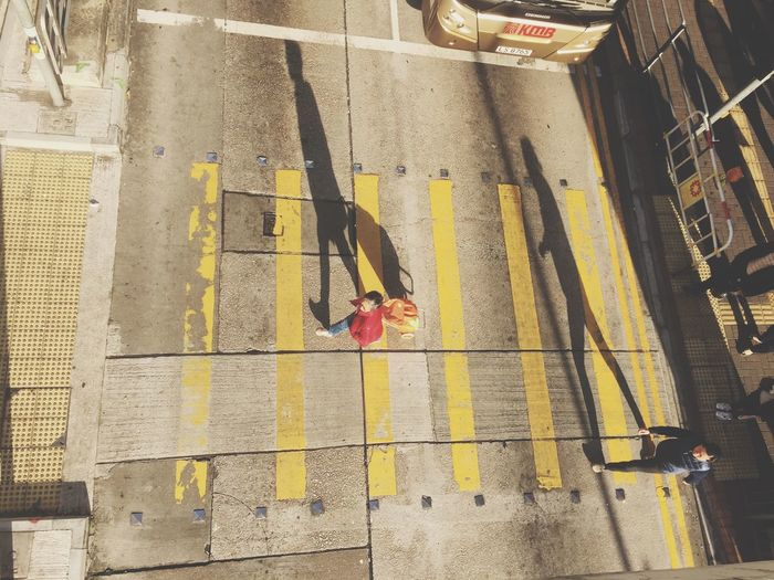 Lifestyles High Angle View Real People Road People LINE Street Lines And Shapes EyeEmNewHere Tsuistyle Photography Hkig Hong Kong Walking HongKong Crossing Crosswalk Top Perspective Topview Top View Birdview Overhead View People Walking  Street People Yellow The City Light The Street Photographer The Street Photographer - 2017 EyeEm Awards