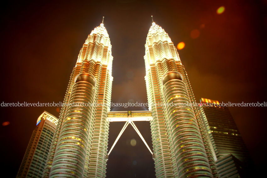 you can make dream come true everything if petronas can stand forever Architectural Feature Architecture Asian  Built Structure Capital Cities  City Culture Famous Place International Landmark Low Angle View Modern Night Petronas Petronas Twin Towers Tall - High Tourism Tower Travel Destinations