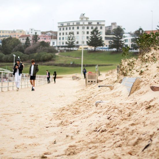 Welcome to Bondi - where the beach comes to you. Sydney Sydneystorm Bondi Bondibeach Australia sand aftermath sandeverywhere apocalypse