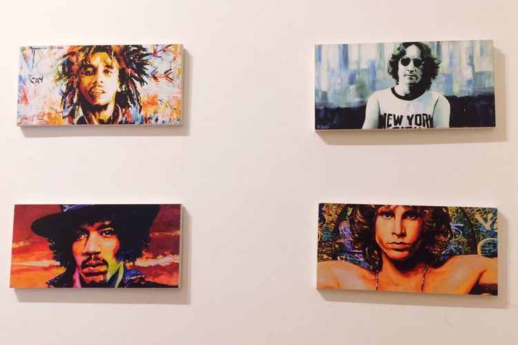 Human Representation Female Likeness Picture Frame Art And Craft Male Likeness Bob Marley Home Interior Shelf Painted Image No People Variation Indoors  Day John Legend King
