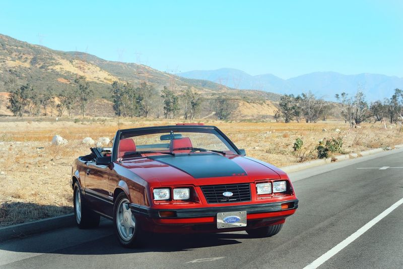 convertible fun Outside Mustang Mustang GT Ford Mustang Ford American Car American Red Car Classic Car Convertible Convertible Car Dream Blue Sky Landscape Fun Foxbody Road Mountain Outdoors Day No People Car Transportation Land Vehicle Mode Of Transport Nature Clear Sky Sky