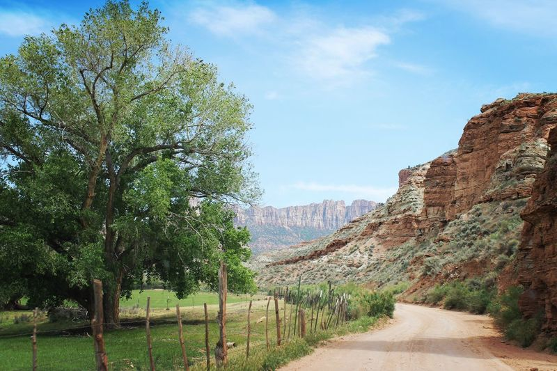 Grafton Ghost town Utah Oasis Red Rock Cliffside Dirt Road Nature Sky Tranquility Tranquil Scene Scenics Beauty In Nature Mountain Road