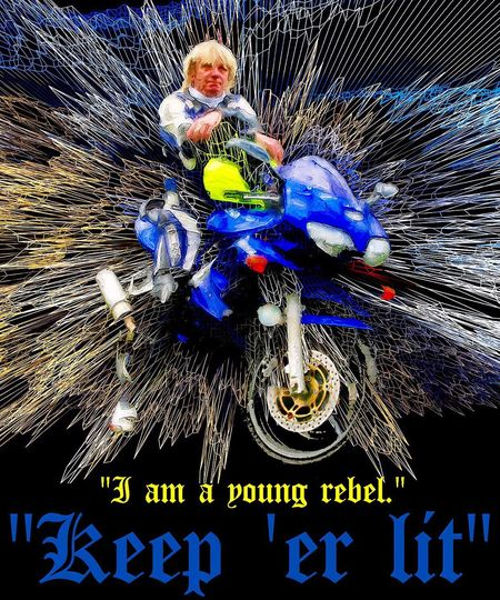 Keep 'er Lit! Portrait Motorbike Art Digital Art Digital Painting Rebel Rebelpunk Creative Glitchè Glitchexhibition Photo Editing Motorcycles Bikers Biker Photomanipulation Photo Manipulation Creative Photography Contemporary Art Digitalart  Scotland Blue Grid Artistic Photography Art Photography Commissionwork