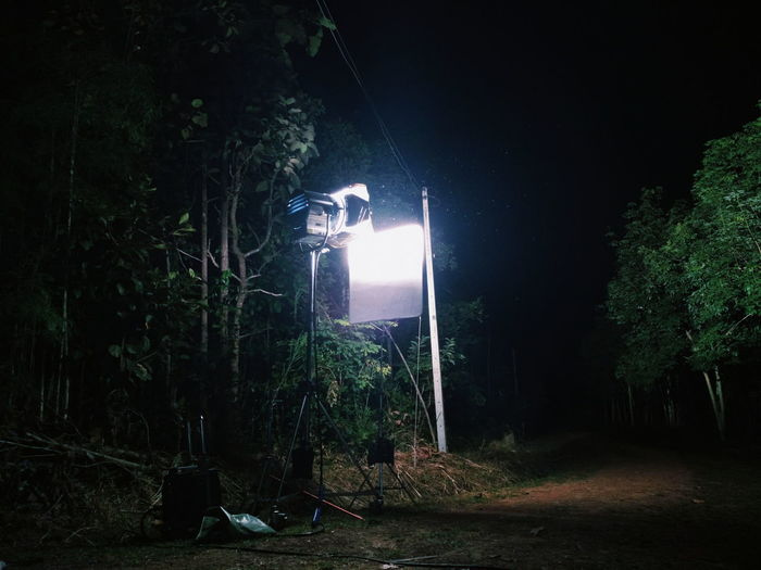 Night Illuminated Arts Culture And Entertainment Tree Outdoors Spooky No People On Set Lighting Equipment Production Light Production Work Light Grapher