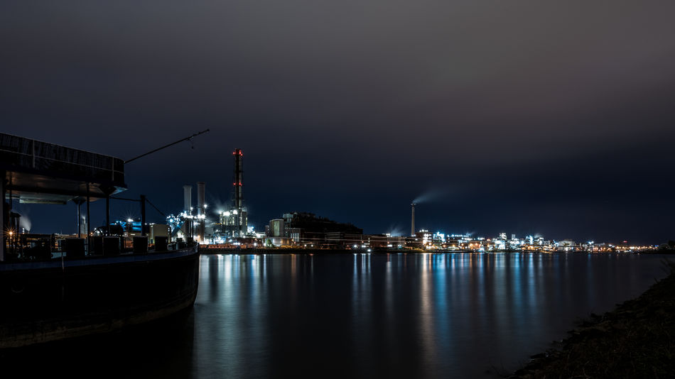 Industry Ludwigshafen Mannheim Basf Factory Illuminated Long Exposure Night No People Outdoors Reflection Ship Sky Water Waterfront