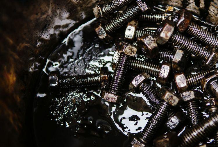 Full frame shot of metallic nut