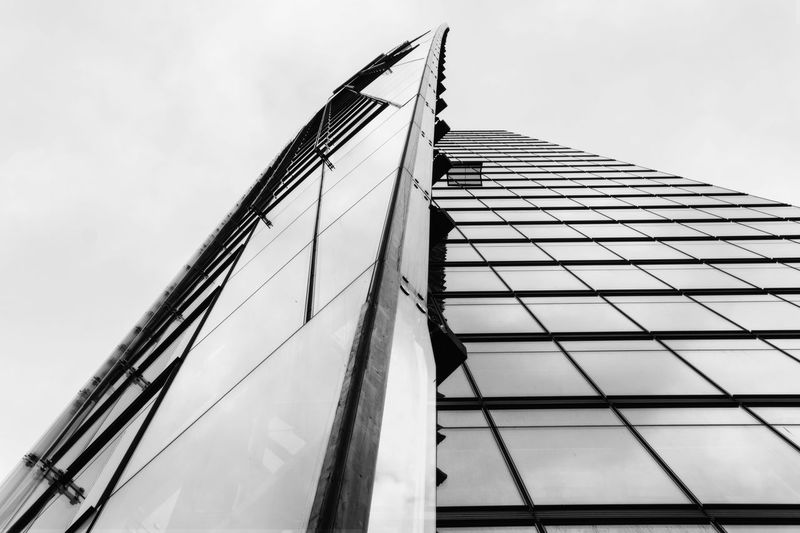 Looking up Bahn-Tower Bahn Tower Berlin Germany 🇩🇪 Deutschland Architecture Black And White Building Exterior Built Structure City Day Low Angle View Modern No People Outdoors Sky
