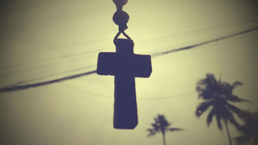 Shillouette In My Car God Bless Hanging Cross Depth Of Field Light And Shadow B&W Collection View From Below