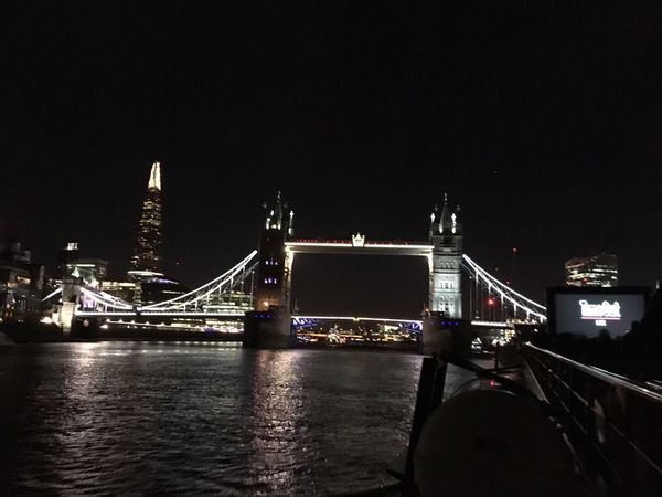 London Bridge and shard Connection Bridge - Man Made Structure Night Architecture Engineering Built Structure Illuminated Suspension Bridge Transportation Bascule Bridge Travel Destinations River Travel Tourism Building Exterior Water Outdoors Bridge City Clear Sky