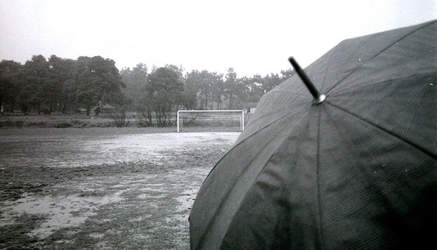 Soccer field against sky