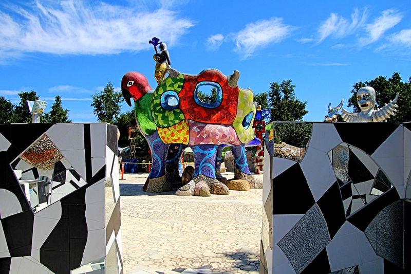 Queen Califia's Magical Circle is a sculpture garden located in Escondido, California. It is one of the last works of Franco-American artist Niki de Saint Phalle. The garden is named after Califia, the fictional warrior queen of the mythical Island of California, and inspired by California's rich history and culture. Niki de Saint Phalle's sculptures are all over the world. If you live in or visit any of these areas, see her work and get some good photos: Stockholm, Sweden - Duisburg and Hannover, Germany - Jerusalem - Nice, Chateau-Chinon and Paris, France - Mendrisio, Switzerland - Hamiluis, Luxembourg - Glasgow, Scotland. Niki De Saint Phalle, Sculptures, Mosaic, Tiles, Art, Escondido, Queen Califia's Magical Circle, San Diego, California,