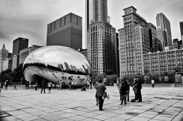 Shades Of Grey Aliens Have Landed! Cloud Gate Millenium Park Chicago Monochrome A beautiful artifact, so pleasing to the eye and the camera. Bean Chicago Architecture Chicago Bean Black And White Friday