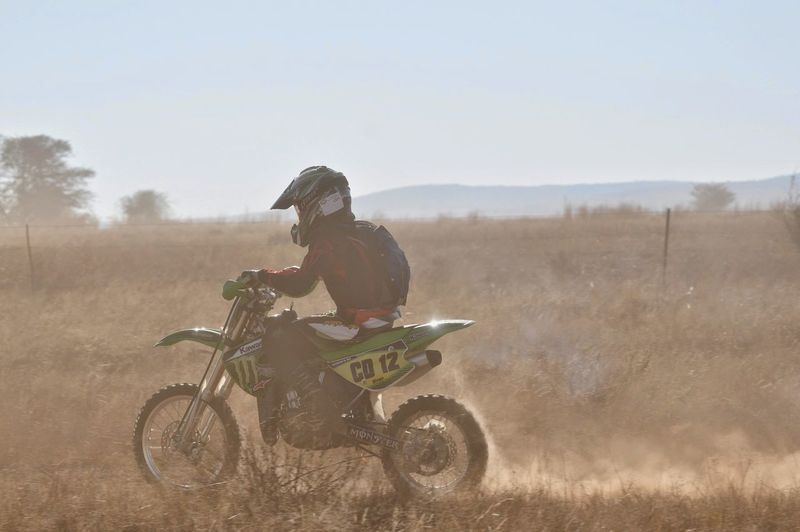 Dusty race in rural South Africa One Person Side View Leisure Activity Rural Scene Adventure Motorcycle Photography Adrenaline Day EyeEmNewHere South Africa