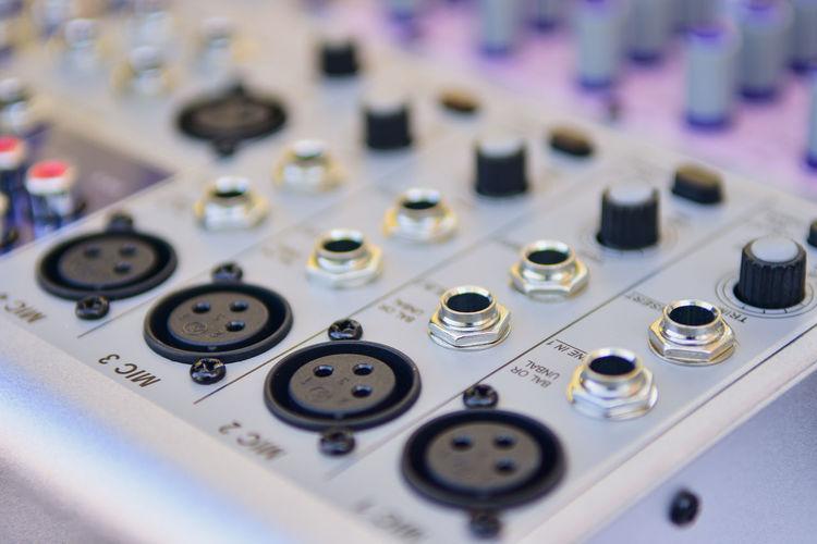 Full frame shot of sound recording equipment in studio