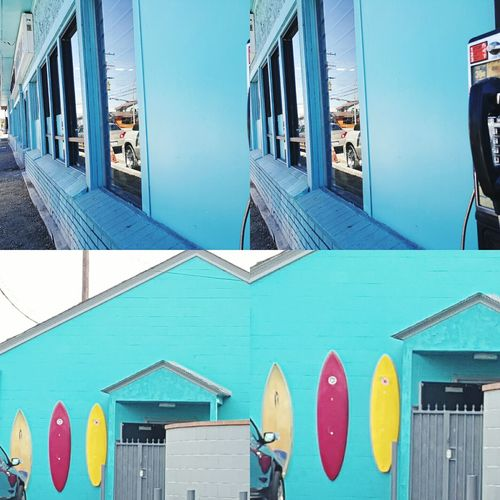 The Color Of Technology Blue Teal Surfboards Payphone Building Exterior Multi Colored Interesting Pictures Vibrant Color Full Frame Outdoors Sky Modern Geometric Shape City Life Off The Beaten Path No People Scenics Zcheezephotoz Beach Life Multiple Image Digital Darkroom Unique Perspective Colorphotography Streetphoto Live For The Story The Architect - 2017 EyeEm Awards Mix Yourself A Good Time The Week On EyeEm