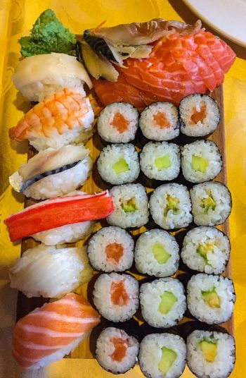 Sushi Seafood Japanese Food Food Food And Drink Freshness Food Stories Rolled Up Healthy Eating Still Life Ready-to-eat Rice - Food Staple Fish Salmon - Seafood Variation Meal Serving Size Salmon Plate No People