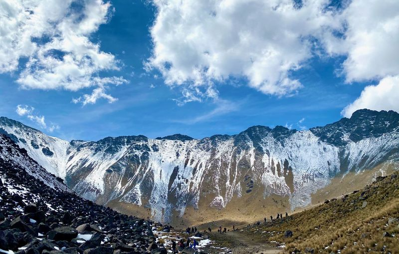 Panoramic view of a valley with snowcapped mountains against sky