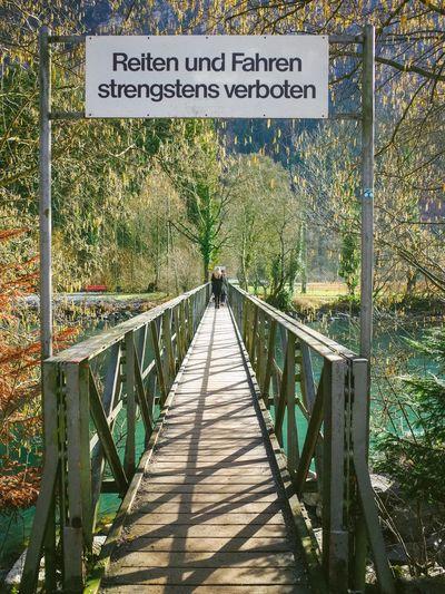 Narrow footbridge at park