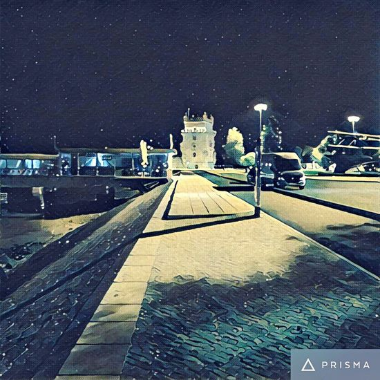 Torre de Belém - Prisma App Night Snow The Way Forward Illuminated Architecture Built Structure Road Building Exterior Winter Cold Temperature Transportation Dark Sky Outdoors Footpath Diminishing Perspective Long Prisma App