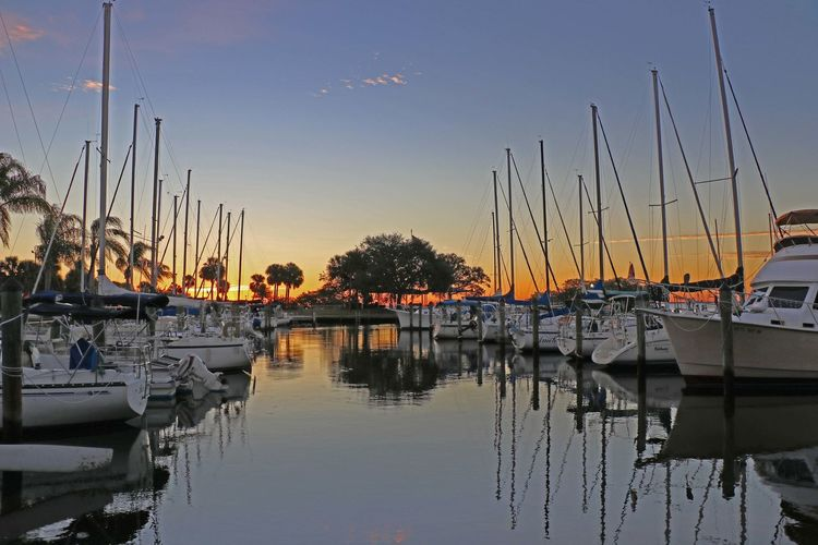 Harbor Mast Moored Nautical Vessel Reflection Sailboat Sky Water Waterfront