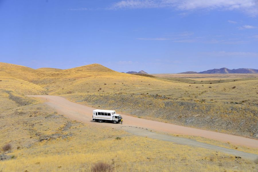 Overland truck in the great landscapes of Namibia 4x4 Desert Namib Desert Namibia Namibia Landscape NamibiaPhotography Africa Arid Climate Desert Land Vehicle Landscape Mode Of Transport Namib Nature Overland Overland Travel Road Scenics Southern Africa Tourism Transportation