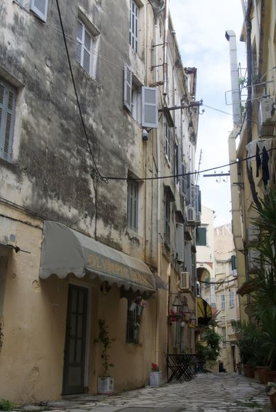 Traditional Greek building, Corfu Town, Greece Architecture Building Built Structure Corfu Town Day Deserted House Deserted Streets Exterior Greek Street No People Old Building  Outdoors Residential Building Shutter Street Photography Street Scene Traditional Building Window