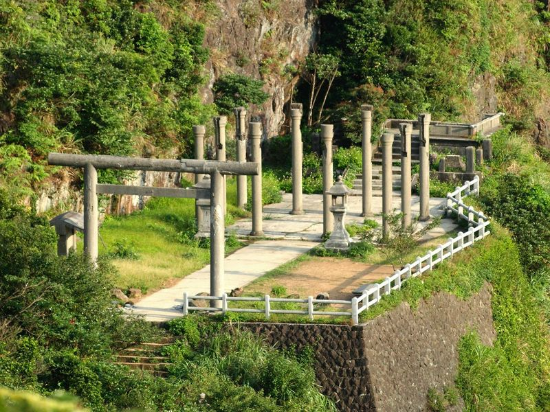 The remains of the Orgon shrine, Jinguashi, Taiwan. During the Japanese colonial era, this was an important part of life in the booming gold-mining town. Gods Jinguashi Ruifang District Shinto Shrine Taiwan Worship Belief Day Grass Kami Nature No People Outdoors Religion Temple Tree