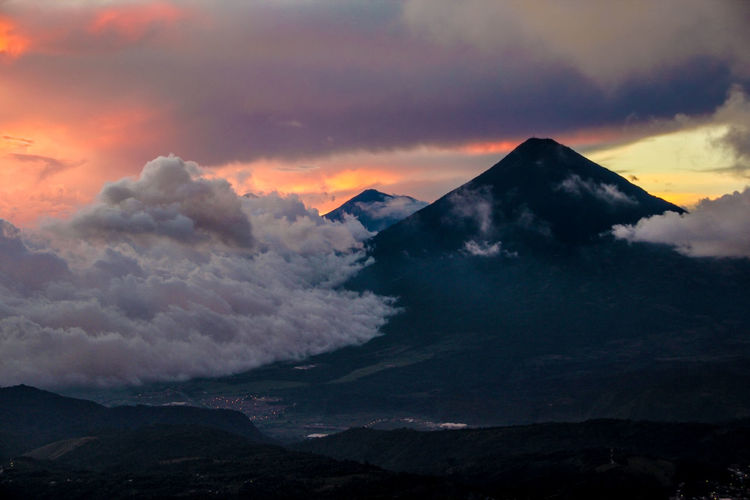 Guatemala Beauty In Nature Cloud - Sky Landscape Majestic Mountain Nature No People Outdoors Peak Scenics Sky Sunset Tranquility Volcano