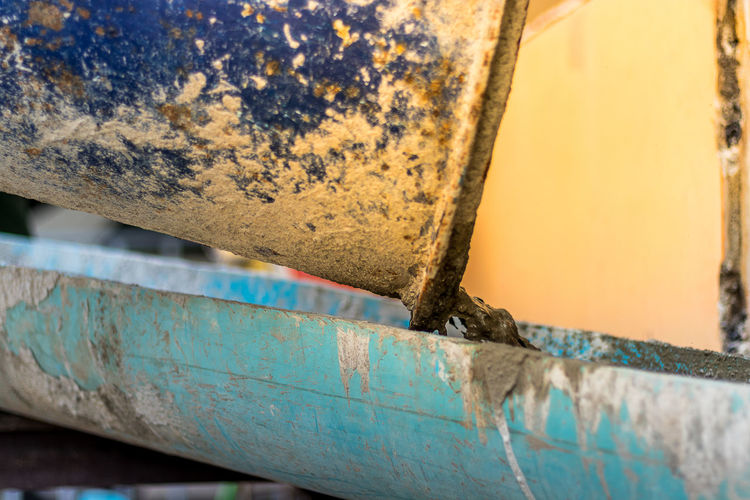 Close-up of rusty metal boat