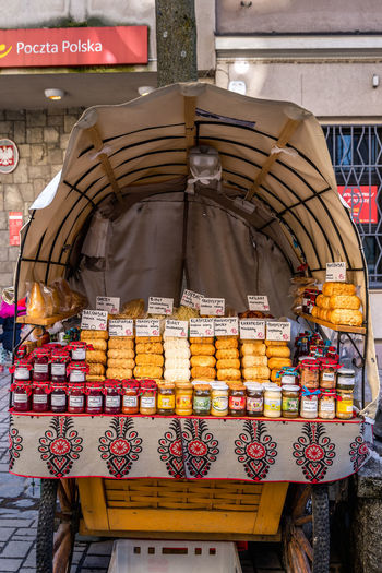 View of store for sale at market stall