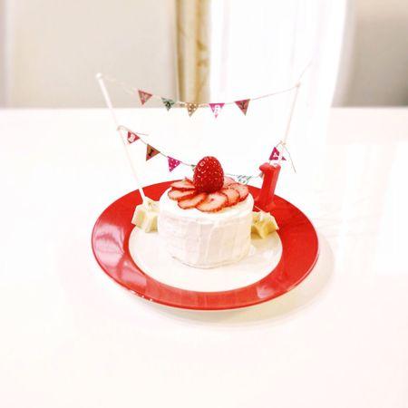 赤ちゃんケーキ Babyfood Cake Birthday Cake Strawberry HappyBirthday Homemade Homemade Cake 離乳食 ケーキ