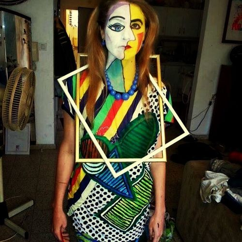 Just a random refugee from a Cubist painting somewhere in Eugene, Oregon... Rebel Rebel Cubism Picasso Me All Dressed Up.... And No Where To Go.... PicturingIndividuality Arts Culture And Entertainment Arty Portrait Art Yourself Paint The Town Yellow