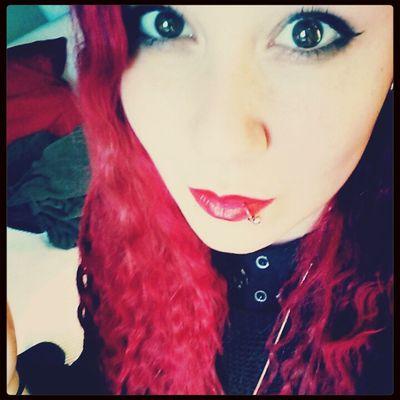 Redhead Red Lips Eyes Selfie