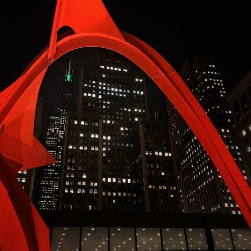 Colors of Christmas Chicago Flamingo Calder Willis Tower Sculpture Architecture Night Red Green