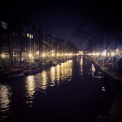 Canals by night Amsterdam Europe
