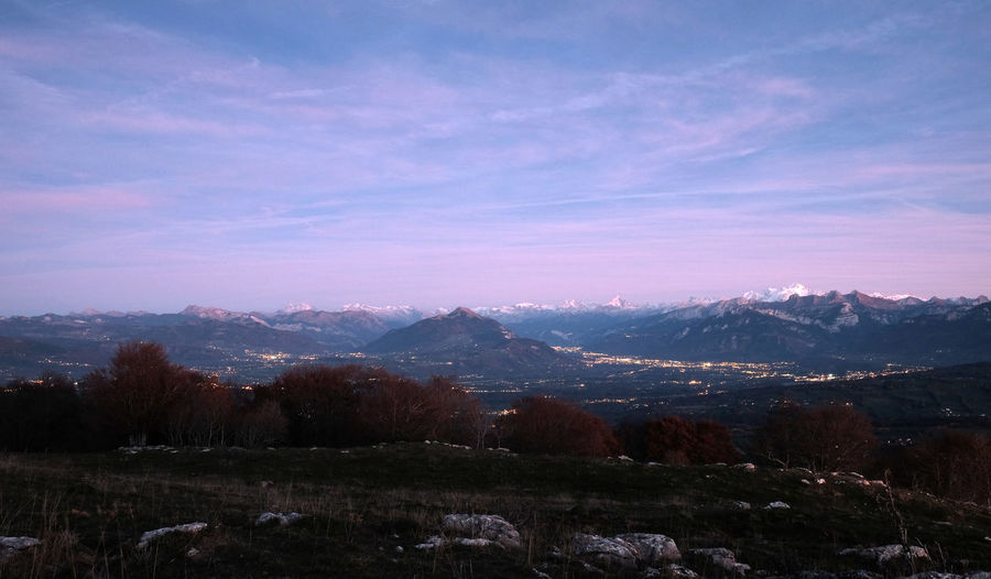 High Anle View Of Mountainous Town At Sunset