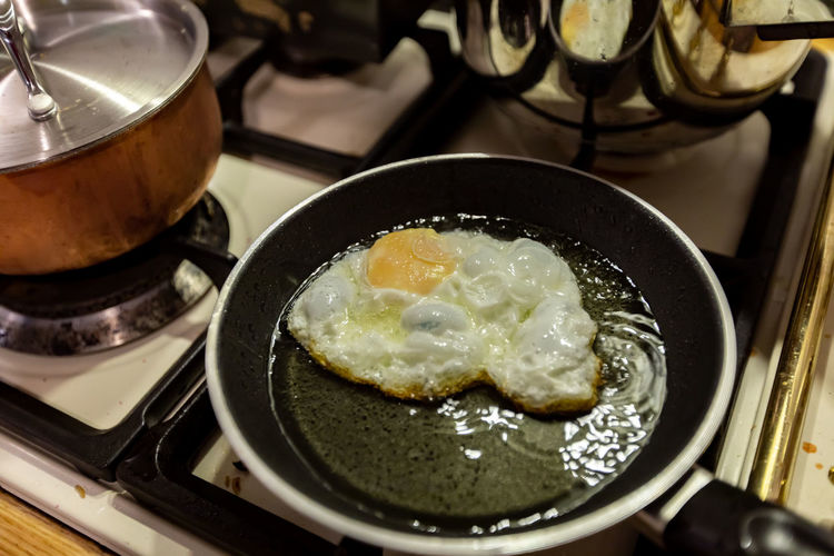 High angle view of breakfast in cooking pan