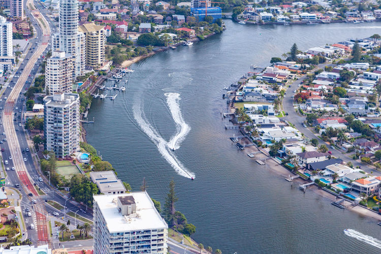 Racing Boats Water Gold Coast Aerial View Birds Eye View Surfers Paradise Architecture High Angle View Building Exterior Built Structure Transportation Nautical Vessel City Sea Mode Of Transportation Building Nature Day No People Cityscape Harbor Outdoors Queensland Australia