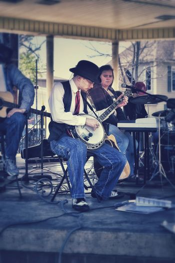 Park Music In The Park Pavilion Banjo Picking Sharp Dressed Hat Red Tie Faded