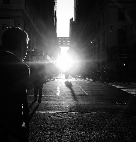 Rear View Built Structure Street Sunlight Real People Architecture Building Exterior TheMinimals (less Edit Juxt Photography) Blackandwhite Lens Flare Light And Shadow Light