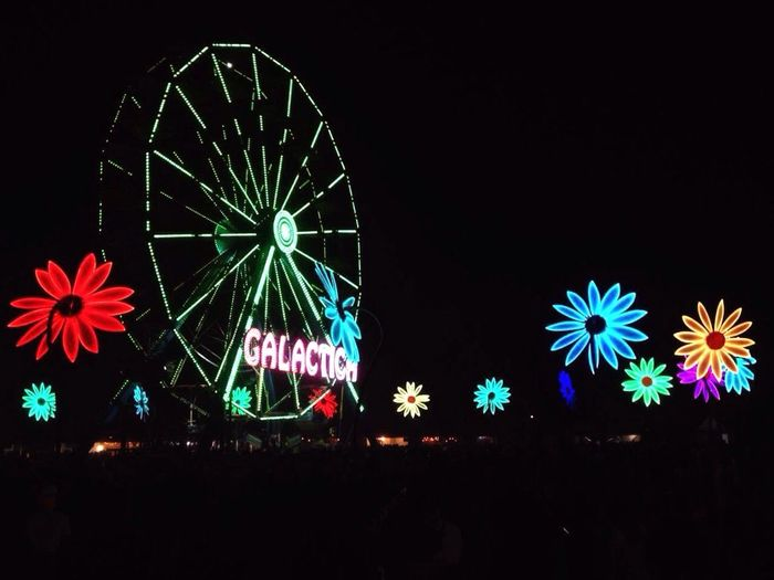 This was EDC EDC2017 Edcmexico2017 Mexico Night Illuminated Arts Culture And Entertainment Black Background Dark Neon Multi Colored Nightlife Ferris Wheel Lights Colour Of Life Colorful Colors