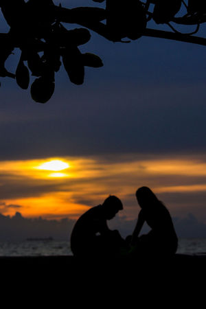Atmospheric Mood Beach Beauty In Nature By The Bay Cloud - Sky Dramatic Sky Leaf Lovers Nature Orange Color Outdoors Romantic Sky Scenics Sea Silhouette Sitting On A Bench Sun Sunset Tranquil Scene Tranquility Water