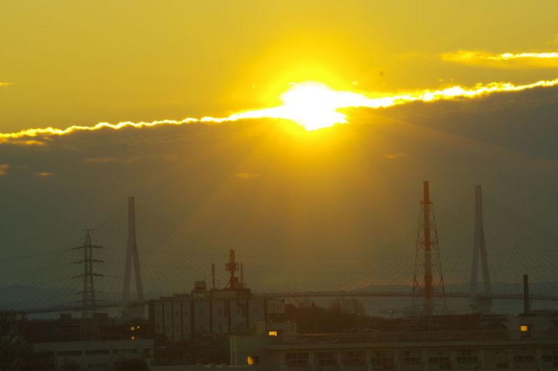 Yokohama Bay Bridge Bridge Cloud Dramatic Sky Morning Orange Color Outdoors Sun Sunrise First Eyeem Photo